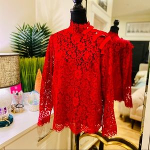 🌲J. Crew Red Lace Bow Button Mock Neck Top🌲